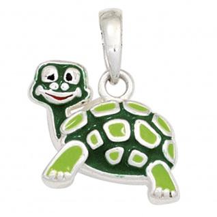 Kinder Anhänger Schildkröte grün 925 Sterling Silber rhodiniert Kinderanhänger