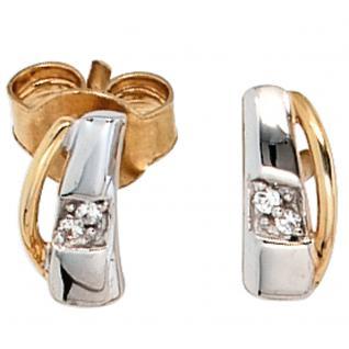 Ohrstecker 585 Gold Gelbgold bicolor 4 Diamanten Brillanten Ohrringe