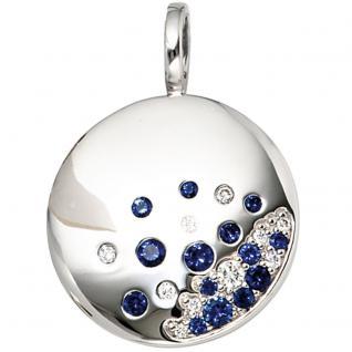 Anhänger rund 585 Gold Weißgold 10 Diamanten Brillanten 0, 10ct. 14 blaue Safire
