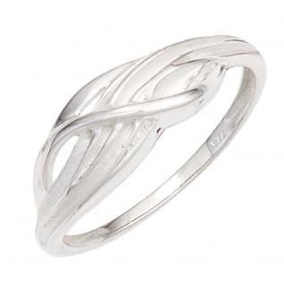 Damen Ring 925 Sterling Silber rhodiniert mattiert Silberring - 60