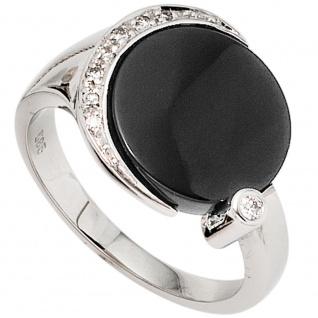 Damen Ring 585 Gold Weißgold 1 Onyx schwarz 8 Diamanten Brillanten Goldring - 56