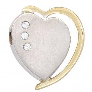 Anhänger Herz 585 Gold Weißgold Gelbgold bicolor matt 3 Diamanten Brillanten