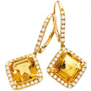 Boutons 750 Gold Gelbgold 62 Diamanten 2 Citrine orange Ohrringe Ohrhänger