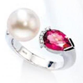 Damen Ring 585 Gold Weißgold 5 Diamanten 1 Südsee Perle 1 Turmalin rosa
