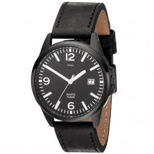 JOBO Herren Armbanduhr Quarz Analog Edelstahl Lederband schwarz Datum Herrenuhr