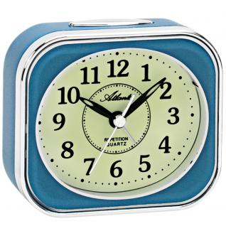 Atlanta 1927/5 Wecker Quarz analog blau leise ohne Ticken mit Licht Snooze