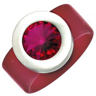 Damen Ring PVC mit Edelstahl kombiniert 1 Swarovski-Element fuchsia - 50