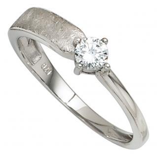 Damen Ring 925 Sterling Silber rhodiniert eismatt 1 Zirkonia Silberring - 50