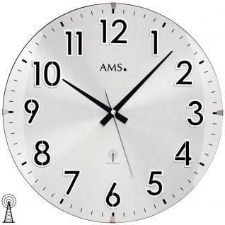 AMS 5973 Wanduhr Funk Funkwanduhr analog rund mit Metall-Zifferblatt und Glas