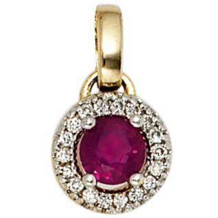 Anhänger rund 585 Gold Gelbgold 18 Diamanten Brillanten 1 Rubin rot Goldanhänger