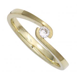 Damen Ring 585 Gold Gelbgold mattiert 1 Diamant Brillant 0, 12ct. Goldring