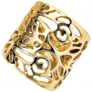 Damen Ring breit 585 Gold Gelbgold Goldring - 58