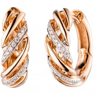 Creolen rund 585 Gold Rotgold 32 Diamanten Brillanten Ohrringe Goldcreolen