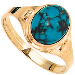 Damen Ring 585 Gold Gelbgold 1 Türkis Goldring - 56