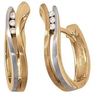 Creolen 585 Gold bicolor matt 6 Diamanten Brillanten Ohrringe Goldohrringe