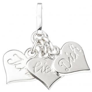 Anhänger Herzen - Ich liebe Dich 925 Sterling Silber rhodiniert Herzanhänger