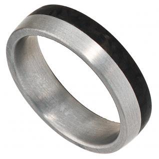 Partner Ring Edelstahl mattiert mit Carbon - 56