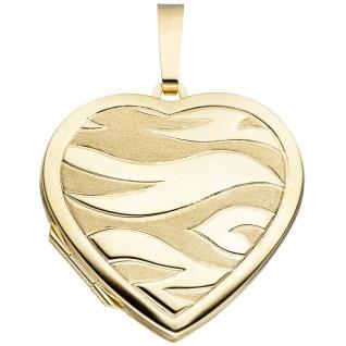 Medaillon Herz 585 Gold Gelbgold mattiert Anhänger zum Öffnen