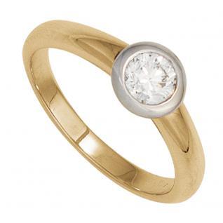 Damen Ring 585 Gold Gelbgold Weißgold 1 Diamant Brillant 0, 25ct. Goldring - 54