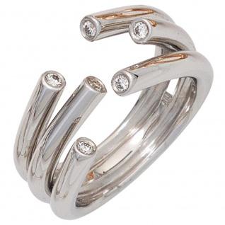 Damen Ring offen 585 Gold Weißgold 6 Diamanten Brillanten 0, 12ct. Goldring - 58