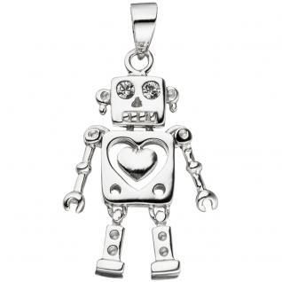 Kinder Anhänger Roboter 925 Sterling Silber mit Zirkonia Kinderanhänger