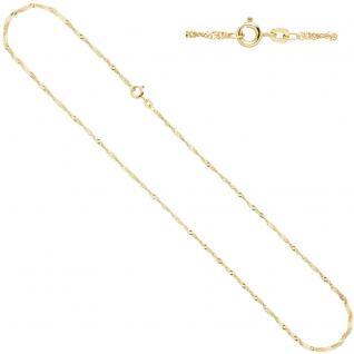 Singapurkette 585 Gelbgold 1, 8 mm 42 cm Gold Kette Halskette Goldkette Federring