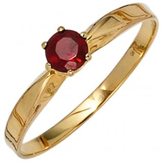Damen Ring 585 Gold Gelbgold 1 Granat rot Goldring - 60