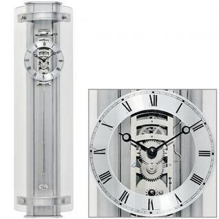 AMS 633 Regulateur Regulator mit Pendel silbern Pendeluhr mit Aluminium Einlagen