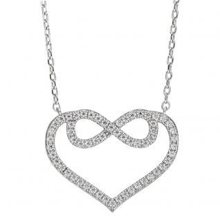 Collier Halskette Herz 925 Sterling Silber mit Zirkonia 45 cm Kette Silberkette