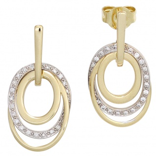 Ohrhänger 585 Gold Gelbgold Weißgold bicolor 42 Diamanten Ohrringe Ohrstecker