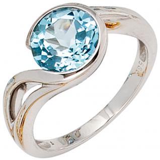 Damen Ring 585 Gold Weißgold 1 Blautopas hellblau blau Goldring - 56