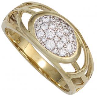 Damen Ring 333 Gold Gelbgold bicolor 22 Zirkonia Goldring