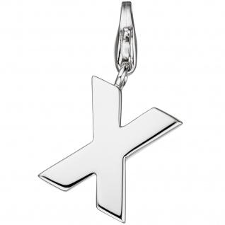 Einhänger Charm Buchstabe X 925 Sterling Silber Anhänger für Bettelarmband