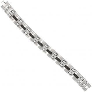 Armband Edelstahl mit schwarzen Carbon Einlagen 21 cm Klappverschluss