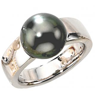 Damen Ring 585 Gold Weißgold 1 Tahiti Perle Goldring Perlenring