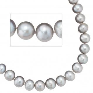 Collier Perlenkette Süßwasser Perlen grau 50 cm Halskette Kette