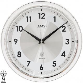 AMS 5945 Wanduhr Funk Funkwanduhr analog weiß rund mit Aluminium-Zifferblatt