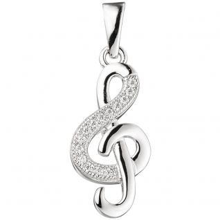 Anhänger Notenschlüssel Musik 925 Sterling Silber rhodiniert mit Zirkonia