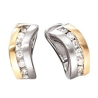 Creolen 585 Gold Weißgold Gelbgold bicolor matt 16 Diamanten Brillanten Ohrringe