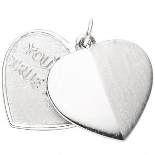 Anhänger Herzen - You're my true love 925 Sterling Silber mattiert Herzanhänger
