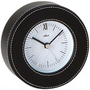 Atlanta 3048 Wecker Quarz analog in Leder-Optik schwarz rund