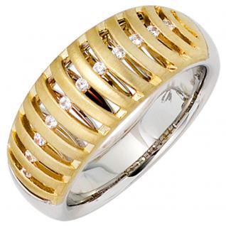 Damen Ring breit 585 Gold bicolor matt 11 Diamanten Brillanten Goldring