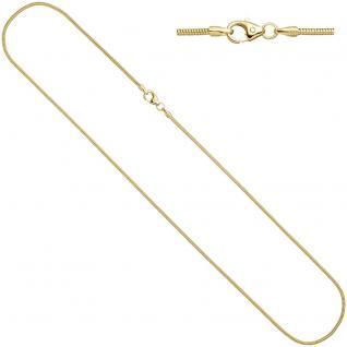 Schlangenkette 585 Gelbgold 1, 4 mm 50 cm Gold Kette Halskette Karabiner