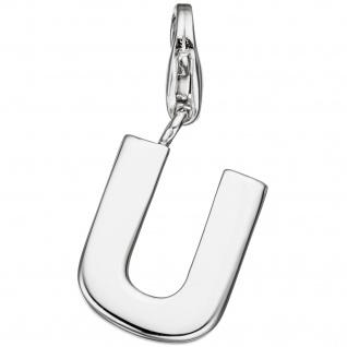 Einhänger Charm Buchstabe U 925 Sterling Silber Anhänger für Bettelarmband