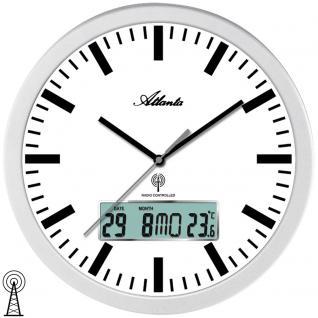 Atlanta 4380/B Wanduhr Funk Funkwanduhr analog silbern mit Datum und Thermometer