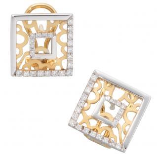 Ohrstecker quadratisch 585 Gelbgold Weißgold bicolor 44 Diamanten Ohrringe