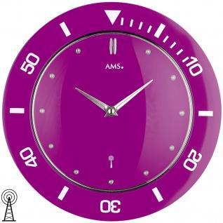 AMS 5944 Wanduhr Funk Funkwanduhr analog lila violett rund modern