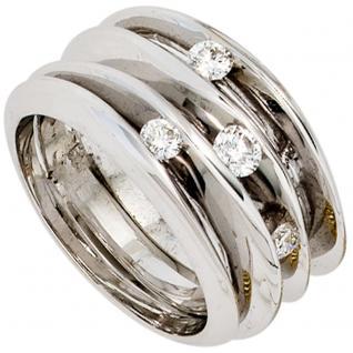 Damen Ring breit 585 Gold Weißgold 4 Diamanten Brillanten 0, 41ct. Goldring - 58