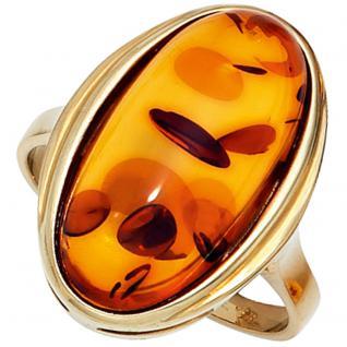 Damen Ring 375 Gold Gelbgold 1 Bernstein orange Bernsteinring Goldring - 60