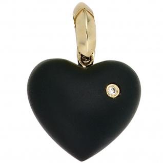 Einhänger Anhänger Herz 585 Gold Gelbgold 1 Onyx schwarz 1 Diamant Brillant